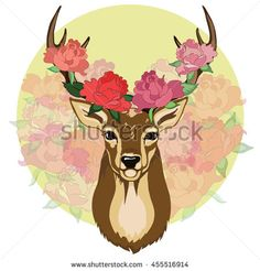 Portrait of beautiful deer with roses on it's antlers and decorative colorful…