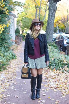 The perfect fall outfit: Wide brim hat, over the knee boots, leather jacket, oxblood sweater and a houndstooth skirt. // Details on TheFashionablyBroke.com