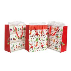 Assorted Festive Christmas Party Gift Bags and Tissues (Santa Claus, Christmas Trees) by MyGift® - Set of 3 Bags ** You can get additional details at the image link. Party Gift Bags, Party Gifts, Christmas Tree Set, Festive, Decorative Boxes, Santa, Gift Wrapping, Homemade, Birthday