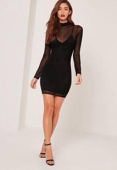 Missguided - Petite High Neck Mesh Overlay Mini Dress Black