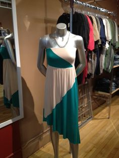 Jealous Tomato color block tube dress with asymmetrical bottom in green/taupe