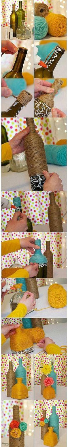 dekoideen diy gegenstände vasen selber basteln glasflaschen jute