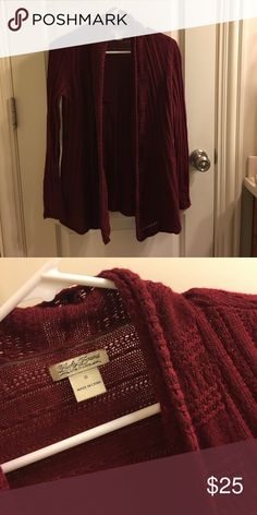 Lucky Brand Burgundy Knit Sweater! Excellent condition, worn a handful of times!! Perfect for layering in fall and winter! Lucky Brand Sweaters Cardigans