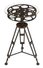 Metal glass accent table is a tripod table which has a table top made of movie reel. A round glass top is fixed on the movie reel, so it gives the view of the movie reel from top. *Dimensions are: 25 Inches High, 15 Inches Wide *Material: Rust free premiu Movie Reels, Film Reels, Movie Film, Movies, Table Tripod, Black Metal, Black Glass, Metal Accent Table, Accent Tables