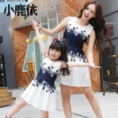 2016 new parent-child outfit sleeveless round collar and clothes fashion cute cartoon princess dress lady dress - free shipping worldwide