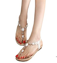 Maybest Summer Women Flat Sandal Metal Shoes T-Strap Slipper Strappy Rhinestone Rome Flip Flops -- Insider's special review you can't miss. Read more  : Lace up sandals