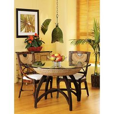 Tropical style decor for your dining room. Tropical Kitchen, Tropical Home Decor, Tropical Houses, Coastal Decor, Tropical Interior, Tropical Furniture, Coastal Curtains, Coastal Entryway, Coastal Rugs