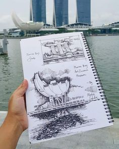 Marina bay sand sketch by www. Architecture Student, Architecture Drawings, Concept Architecture, Amazing Architecture, Landscape Architecture, Watercolor Architecture, Architecture Design, Drawing Sketches, Art Drawings
