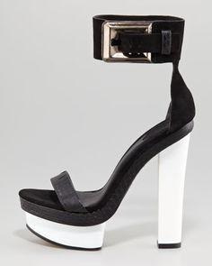 Ankle-Cuff Platform Sandal - Neiman Marcus #black #white #shoes