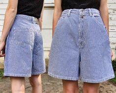 7475885e78 Vintage Faded Glory High Waisted Pale Blue + White Pinstripe Summer Long  Shorts M/L 30