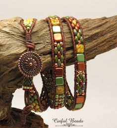 TRIPLE WRAP LEATHER Bracelet-Picasso Superduos-Copper Superduos-Czechmate Tile Beads-Boho Leather Bracelet-Hippie Bracelet--(TW16) by CinfulBeadCreations on Etsy