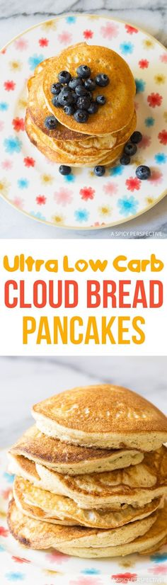 Carb Diet - Low Carb Cloud Bread Pancakes (Ketogenic) - This healthy pancake recipe is low in carbohydrates, fat, and calories! An easy fit for most low carb diets. via Sommer Low Carb Diets, High Carb Foods, Low Carbohydrate Diet, Cloud Bread, Keto Foods, Paleo Diet, Low Carb Breakfast, Breakfast Recipes, Pancake Recipes