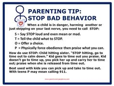 Parenting tip poster and blogging about bad behavior and self esteem