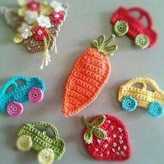 Printing Sculpture Innovation To Make Fridge Magnets Refrigerators Crochet Applique Patterns Free, Baby Knitting Patterns, Crochet Motif, Crochet Designs, Crochet Stitches, Love Crochet, Crochet Flowers, Crochet Baby, Knitted Baby