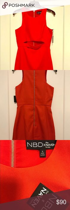 """X NAVEN TWINS ROYALS CUT-OUT DRESS Cute cut-out dress, never worn, shoulder seam to hem measures approx 32"""" in length. Flattering material, bold color! Sold out online. Naven Dresses Mini"""