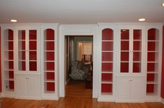 Painted Bookcases Built-in with Glass Doors. Love it!!