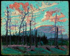 Tom Thomson, Burnt Land at Sunset, summer 1915 - Art Gallery of Ontario Group Of Seven Artists, Group Of Seven Paintings, Paintings I Love, Emily Carr, Canadian Painters, Canadian Artists, Landscape Art, Landscape Paintings, Impressionist Paintings