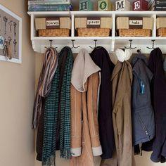 Organised cloakroom in downstairs toilet area Cloakroom Storage, Hallway Storage, Stair Storage, Cloakroom Ideas, Coat Hooks Hallway, Entryway Closet, Hall Closet, Closet Space, Coat Cupboard