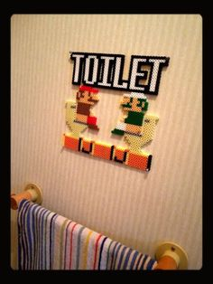 Super Mario toilet sign perler beads