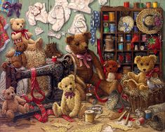 Teddy Bear Workshop, a painting of several teddy bears surrounding an antique sewing machine, threads and patterns by Janet Kruskamp. My favorite one
