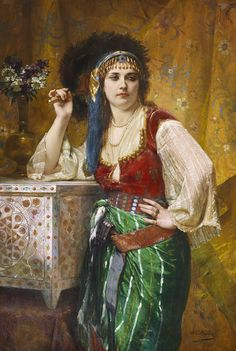 Charles Louis Muller  (1815-1892) Beauté orientale Huile sur toile signé en bas à droite 130,5 x 89 cm - Galerie Ary Jan