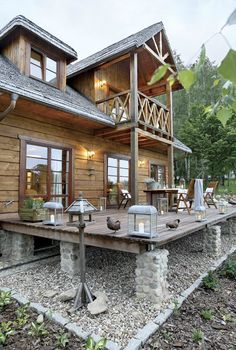look at those stone piers supporting the deck