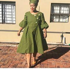 Blue puff sleeves vintage flare polka dot african print ankara plus size women dress, wedding dress, ankara gown, prom dress green-puff-sleeves-vintage Seshweshwe Dresses, African Prom Dresses, African Fashion Dresses, African Dress, African Clothes, Ankara Fashion, African Wear, African Women, Summer Dresses