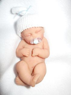 Custom OOAK polymer clay baby girl or boy cake by LorisLittles, $35.00