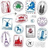 timbre postal : Una colección de alto detalle de Viajes Sellos conceptos, con los símbolos tradicionales de todos los principales países de Europa