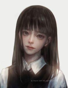 E korean school girl Manga Girl, Anime Art Girl, Anime Girls, Arte Peculiar, Amarillis, 8bit Art, 3d Fantasy, Realistic Paintings, Cg Art