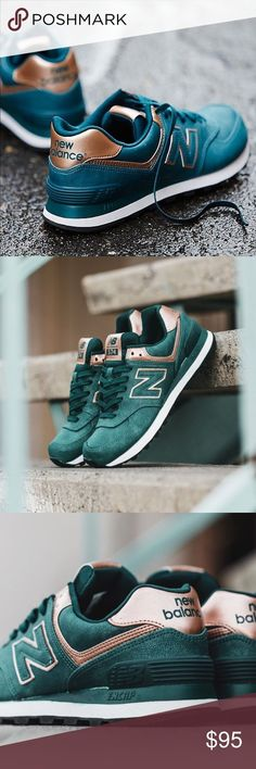 """New Balance 574 sneakers in emerald and rose gold New Balance 574 sneakers in emerald and rose gold. """"Precious Metals"""" line. Hard to find size and color. Selling for $120+ on other sites. Brand new in box. No trades. No PayPal. Additional photos coming soon. New Balance Shoes Athletic Shoes"""