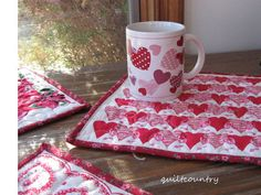 Valentine Mug Rug by quiltcountry on Etsy, $12.00
