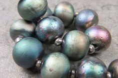 Into the Fire Lampwork Art Beads ~Industrial Pavone~ Artist handmade glass beads