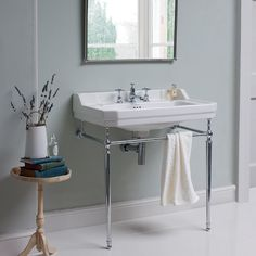 Burlington Edwardian inspired rectangular basin with a modern chrome plated feature wash stand Available with a choice of 1, 2 or 3 tap holesExquistely made from vitreous china25 year manufacturer's guarantee £545