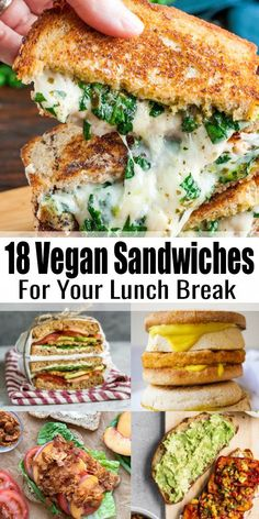 Vegan Sandwiches - 18 Delicious Vegan Sandwich Recipes - - If you're looking for vegan sandwiches, this is the right place for you! We have 18 easy and delicious vegan sandwiches for you that are perfect for lunch! Vegan Sandwich Recipes, Vegan Dinner Recipes, Whole Food Recipes, Healthy Recipes, Sandwich Ideas, Vegetarian Sandwiches, Vegan Recipes For Beginners, Healthy Sandwiches, Easy Recipes