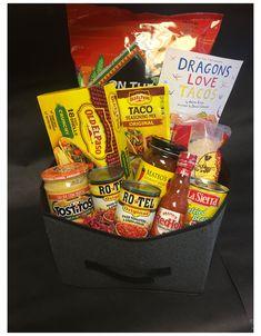 Taco Night Gift Basket #taco #basket #gift #ideas #tacobasketgiftideas Theme Baskets, Themed Gift Baskets, Birthday Gift Baskets, Birthday Gifts, Raffle Gift Basket Ideas, 21st Birthday, Homemade Gift Baskets, Diy Gift Baskets, Homemade Gifts