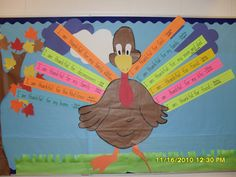 Kids write what they are thankful for on writing strips to make turkey feathers---would be a cute bulliten board for thanksgiving.