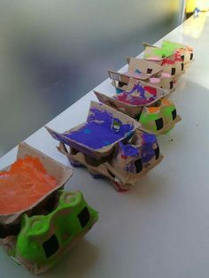 Dump truck from egg cartons