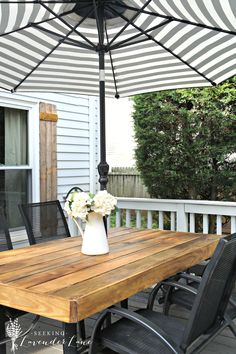 Cheap home decor: how to update an outdated outdoor furniture to create a French rustic cafe setting in the backyard using old outdoor furniture.