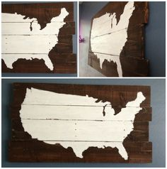 DIY map sign, rustic painted united states wall art. Popular with the Poplins