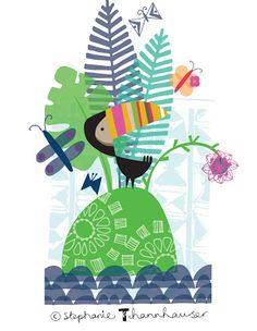 Ric-Rac: Today I'm dreaming of being on a tropical Island..... cheese plant, toucan, tropical birds, butterflies, palms