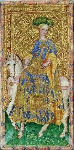 Horsewoman from the Visconti tarot deck by Bonifacio Bembo 1450