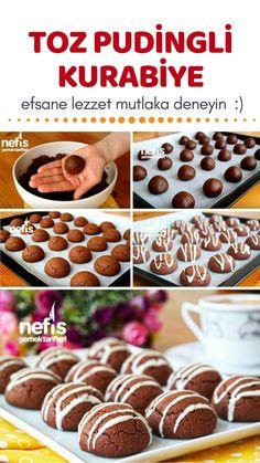 Pudingli Kurabiye Tarifi (videolu) – Nefis Yemek Tarifleri – Kurabiye – The Most Practical and Easy Recipes Pudding Desserts, Pudding Cookies, Pudding Recipes, How To Make Pudding, Cookie Recipes, Dessert Recipes, Pasta Cake, Sweet Cookies, Turkish Recipes