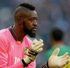 """Knock 4 times and Charles Itandje will answer. This """"Cameruined"""" goalie wins #MVP (we know you're shocked) but when it comes to a hair/beard combo this guy steals the show. Who is laughing now? #Meow #CMRvsCRO #TheGroomingField #WorldCup #mensgrooming"""