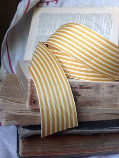 butterscotch and cream striped grosgrain ribbon by ShyMyrtle, $1.00