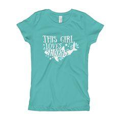 Great Gift for Fans of Sharks. This girl loves white sharks. Love sharks shirt. Custom drawing tee. Women dress. Kids and ocean. Ocean or Sea Surf. Deep Blue Wa