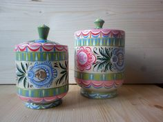 Russian wooden boxes with folk Gorodets painting.