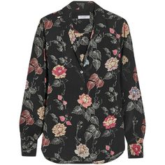 Equipment Adalyn floral-print washed-silk shirt ❤ liked on Polyvore featuring tops, floral pattern shirt, silk top, colorful shirts, multi colored shirt and multi color tops