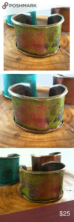 """Artisan Wide Verde Patina Copper Cuff Hand forged and hammer textured wide copper cuff bracelet, painted to a verde green patina finish.   Widest point is approx 2""""  Adjustable to fit most wrists   Handcrafted with love by me! croweArt Jewelry Bracelets"""