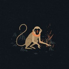 Willian Santiago, monkey, plants, black, illustration, animal